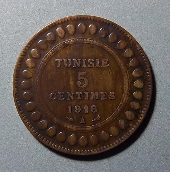 Túnez 5 Centimes 1916 Mb Km 235 Colonia Francesa