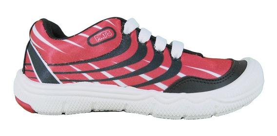 Zapatillas Acordonadas Rojo Plumitas 4001p Niños Lujandro