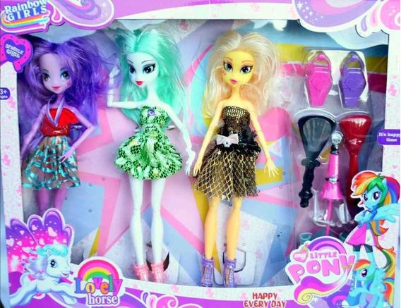 3 Muñeca My Little Pony + Accesorios Ponys Niña Juguete
