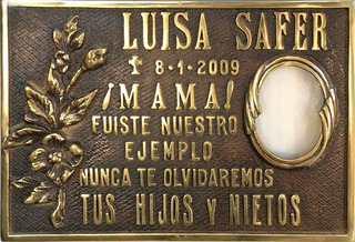 Placa De Bronce, Fundición. Con Foto. Para Cementerio. 30x20