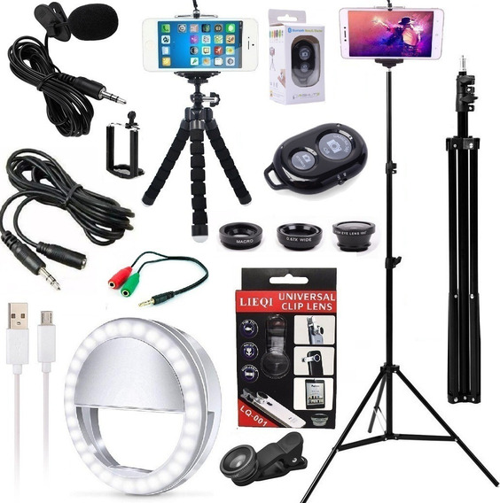Kit Youtuber Profissional Microfone Lapela Tripé 2,10m Flash