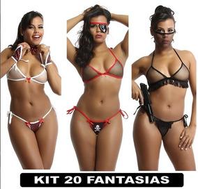 Roupas Intimas Langerie Sex Femininas Fantasia Kit Com 20 Un