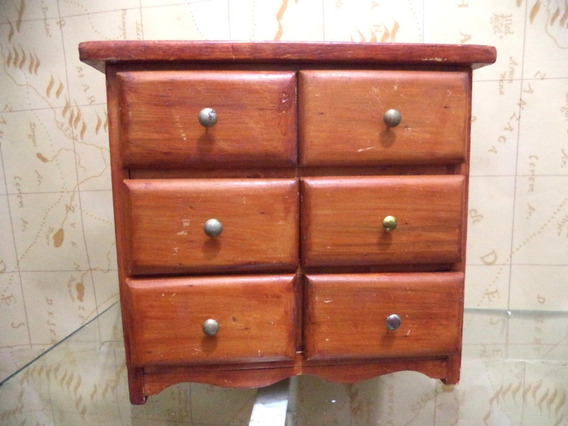 Miniatura De Cômoda Porta Joias Antigo Madeira Maciça