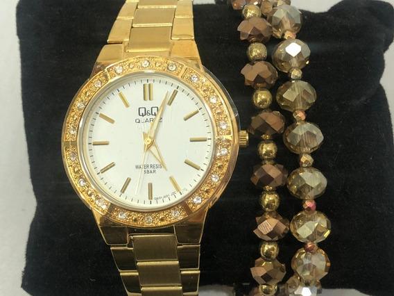 Relógio Analógico Q&q Q901j001y Feminino Dourado