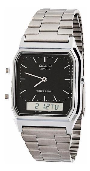 Relógio Cassio Digital Analógic Prata C/ Preto Aq-230 Unisex