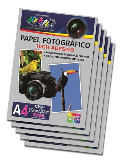 Papel Foto Fotográfico Adesivo A4 135g Kit 5 Pacote Com 20 Folhas Em Cada