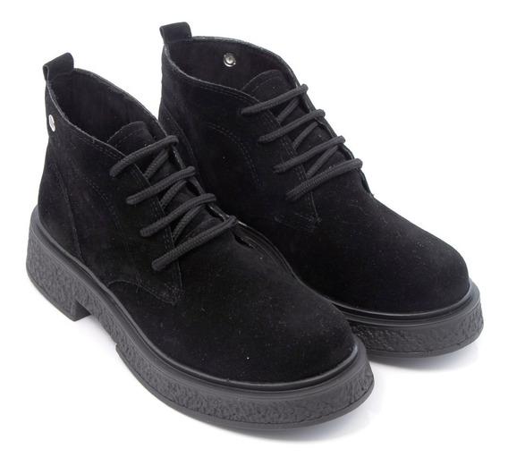 Botineta Botita Zapato Mujer Gamuza Clasico Cordones Savage