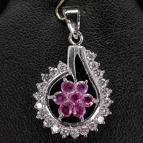 Natural Gem Top Rich Red Pink Ruby-white Cz 925 Silver Flowe