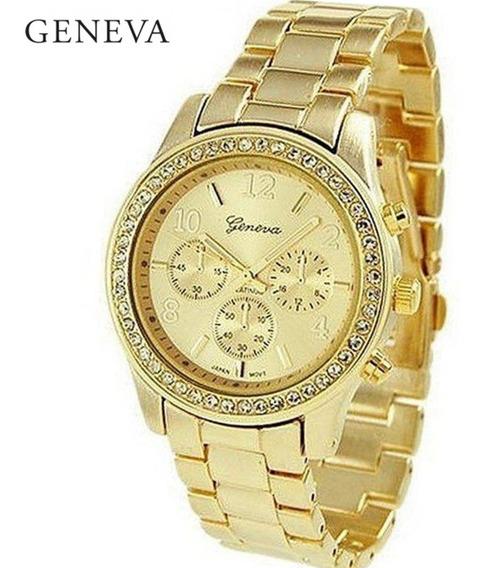 Relógio Feminino Geneva Dourado Com Strass De Aço Oferta