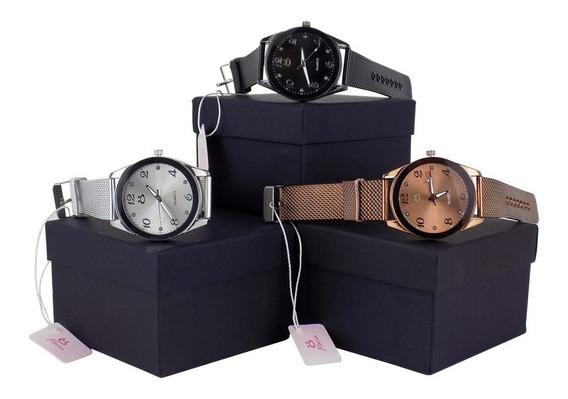 Kit 3 Relógios Feminino Orizom Dourado Original + Caixa