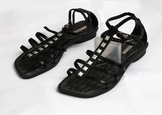Sandália Salto Rasteira Gladiadora Sapato Tacha Prata Preta