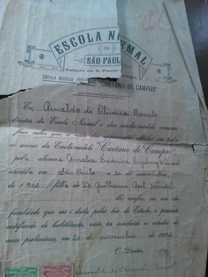 Diploma Escola Normal De São Paulo - 1924