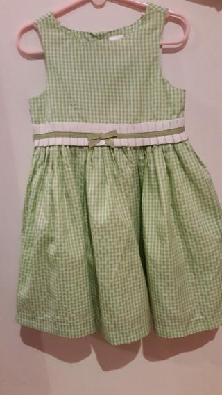 Elegante Vestido Cuadros Verde Y Blanco 3 Años. Importado.