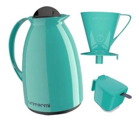 Garrafa Térmica Coador Açucareiro Café Porta Filtro Kit