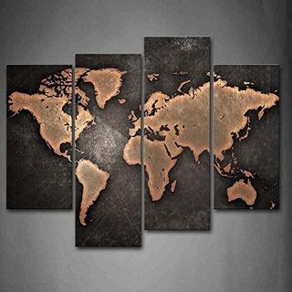Mapa General Del Mundo En Fondo Negro Arte Para Pintura Pint