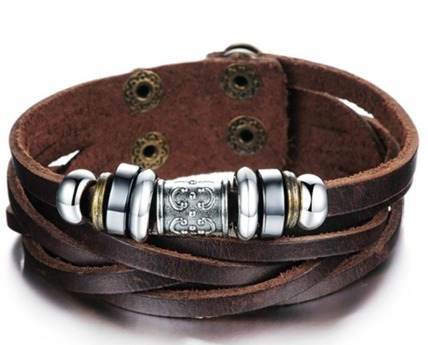 Bracelete Masculino Em Couro Com Berloques Em Aço Inoxidável