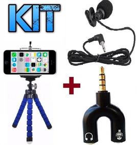 Mini Tripé Flexível + Microfone Lapela Adaptador P2 + Brinde