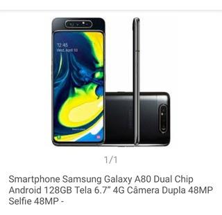 Celular Samsung A80 8gb Câmera 48+5 Mgpix Frente E Trazera