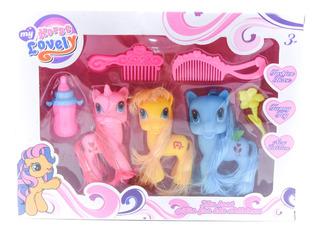 Set Pony Unicornio + Accesorios Regalo Niñas Infantil Cuotas