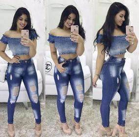 Calça Jeans Estilosa Rasgada Rasgadinha Temos Plus Size Top