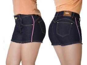 Short Jeans Feminino Alto Faixa Lateral Kanibus Ref.18042