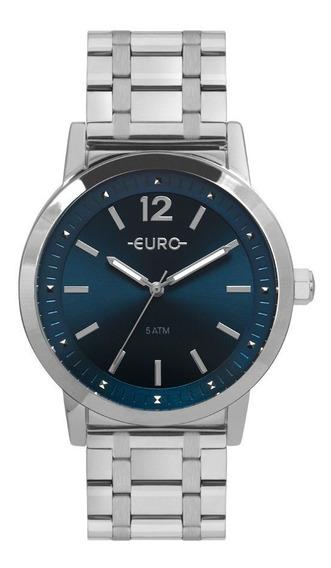 Relógio Euro Feminino Recortes Prata Ou Dourado Original
