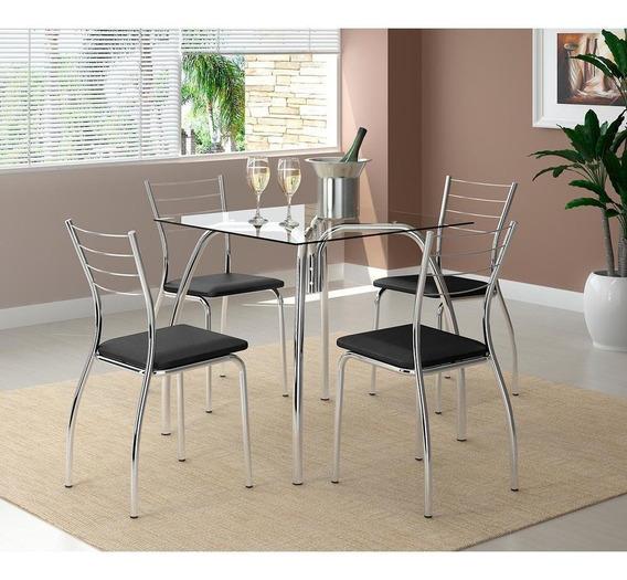 Mesa De Jantar Em Tubos De Aço, 4 Cadeiras, Tecido Napa - Carraro Parma