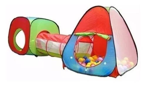 Imagem 1 de 5 de Barraca Brinquedo Infantil 3 X 1com Tunel + 100 Bolinhas