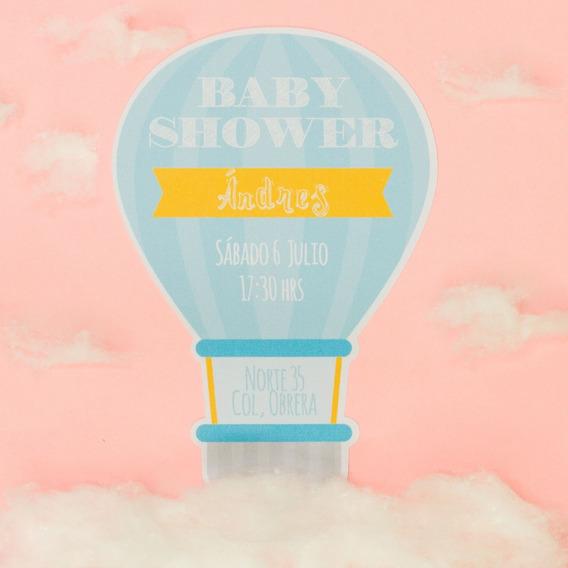 20 Invitaciones Baby Shower Forma De Globo Económicas