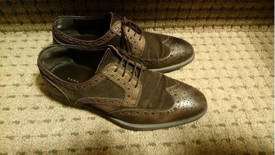 Zapatos Zara Marrones Picados Con Pana Talle 39, Poco Uso!!!