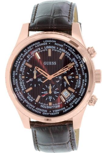 Reloj Guess Para Hombre U0500g3 Cuarzo Correa De Cuero Café