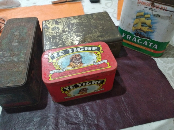 4 Latas Antiguas.té Tigre,terrabusi, Aceite Fragata Y Whisky