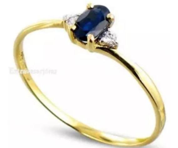 Aro 17,ouro Amarelo 18k Com Safira E Diamantes,
