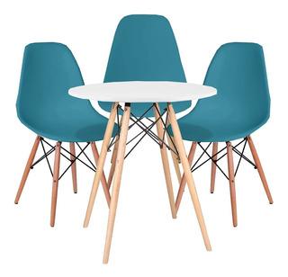 Kit Mesa De Jantar Branca Eames 70cm + 3 Cadeiras Charles