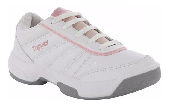 Zapatillas Topper Lady Tie Break Iii Blanca Rosa Para Tenis
