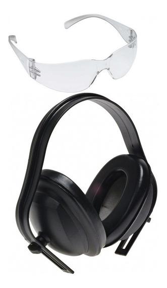 Kit C/ 3 Oculos De Proteção E 3 Abafador Tipo Concha