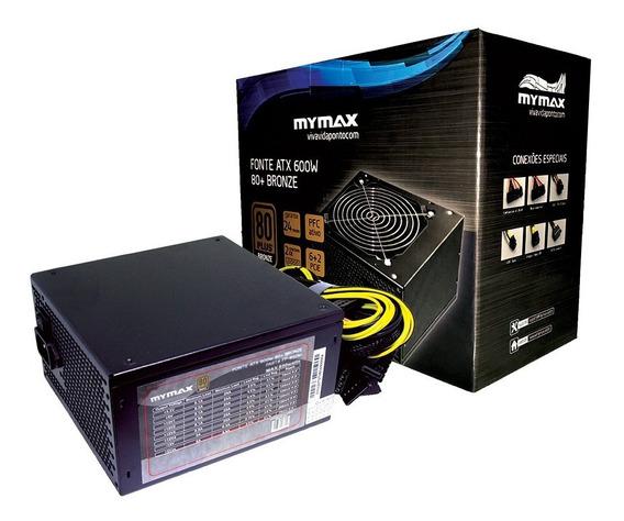 Fonte Atx Mymax 600w 80 Plus 80+ Bronze Pfc Ativo Sli K745f