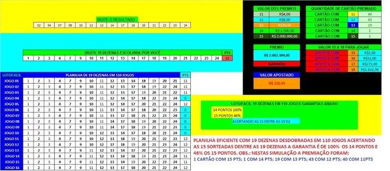 Planilha Lotofacil 19 Dezenas 100% 14 Pontos E 90% 15 Pontos