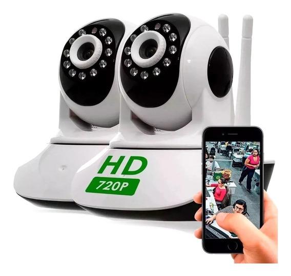 Kit 2 Câmera Ip Wifi Segurança Hd Wireless P2p Onvif Ptz 1.3mp Visão Noturna Áudio