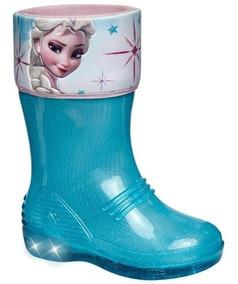 Bota Frozen Para Lluvia Con Luces Caricatura Princesa Hielo