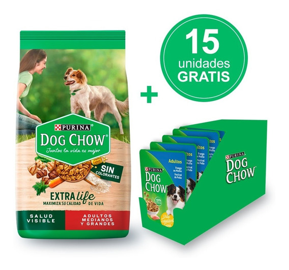 Dog Chow Sin Colorantes Adulto Med Gran 21kg + Humedo Gratis