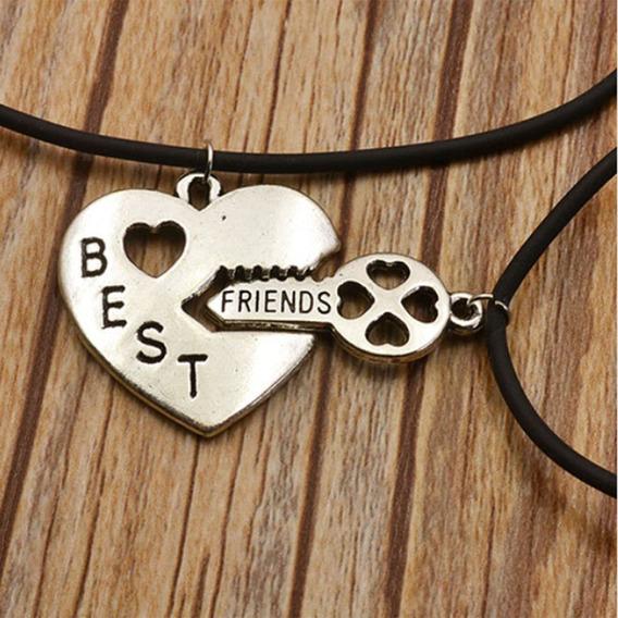 Colar Best Friend Amizade Melhores Amigas Chave Coração