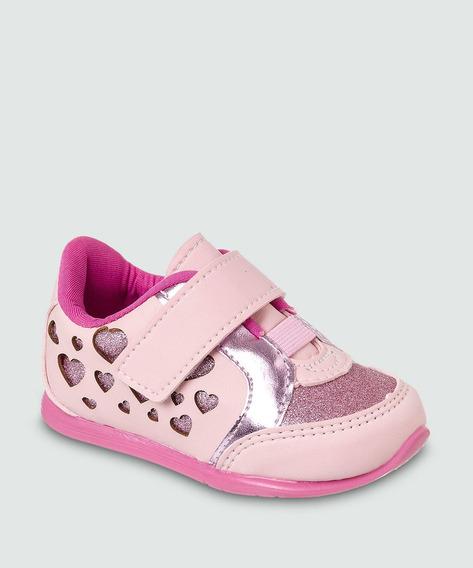 Tênis Infantil Feminino Rosa Velcro Lançamento