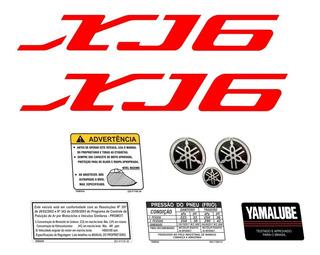 Adesivo Yamaha Xj6 2012 Preta Kit Completo Emblema Xj61103