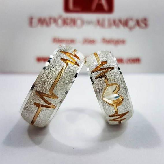 Alianças Prata Namoro Coração Batimento Cardíaco Em Ouro 18k