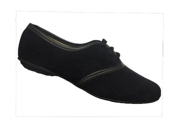 Sapato Oxford Baixo Preto Sapatilha Feminino Na Promoçao