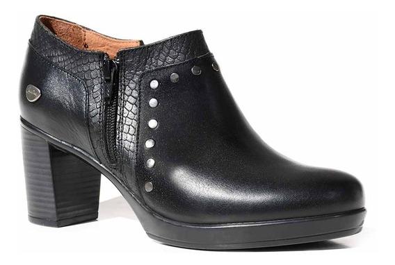 Zapato Mujer Cuero Cavatini Confort Botineta Negra Mccz33039