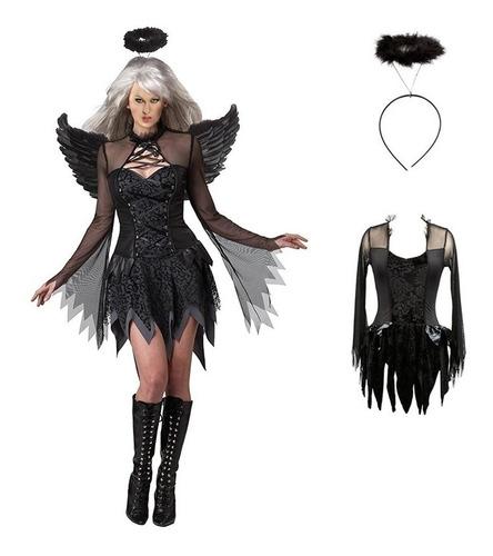 Fantasia Anjo Caido Halloween Anjo Negro Fada Ma Bruxa Mercado Livre