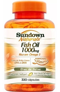 Ômega 3 Sundown 320 Caps Fish Oil 1000 Mg Óleo De Peixe Puro