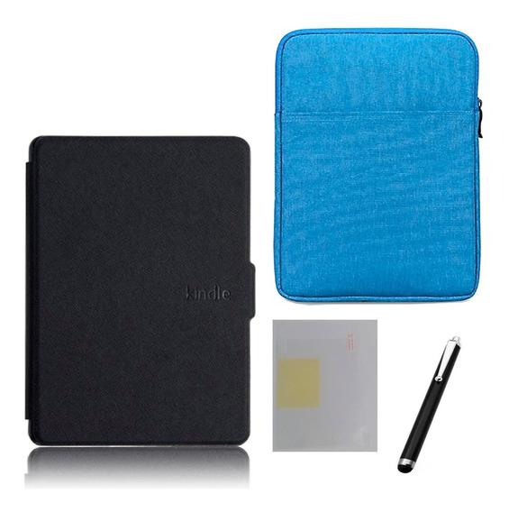 Capa Case Novo Kindle 10ª G. 2019 Preto- Fecho Magnético + Bolsa Azul + Caneta E Película